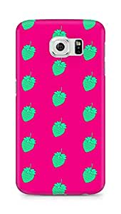 AMEZ designer printed 3d premium high quality back case cover for Samsung Galaxy S6 (green pink strawberries)