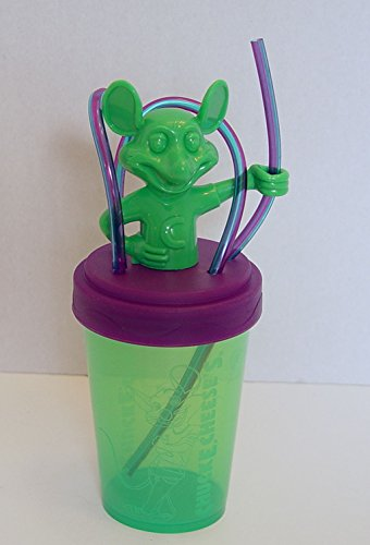 chuck-e-cheese-green-and-purple-plastic-tumbler-with-straw