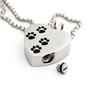 Zahara Pet Memorial Urn Necklace (20 Inches) with Velvet Pouch & Fill Kit   4 Paw Heart Pendant and Chain (Nickel Free)