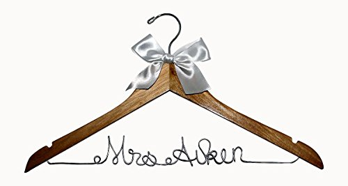 Personalized Hanger for Wedding Dress on Natural Wood Premium Hanger with Silver Wire