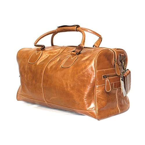 Large Tan Real Premium Leather Holdall Duffle Travel Sports Gym <strong>Designer Weekend Bag< strong>