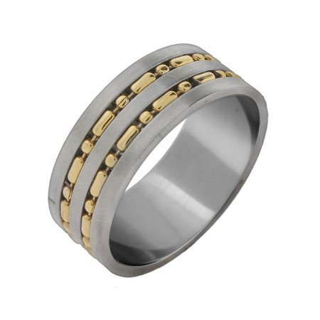 Men's Gold Beaded Double Row Stainless Steel Band Size 10 (Sizes 10 11 Available)