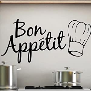 Sticker Bay Bon Appetit Kitchen Wall Sticker Art Quote - Black: Amazon ...