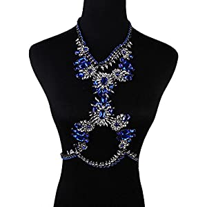 Holylove® Unique Holidays Royal Blue Crystal Body Statement Necklace Sale-with Color Box