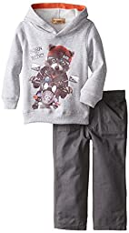 Kids Headquarters Little Boys\' Hoody with Fox and Pants, Gray, 7