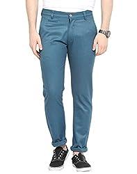 Turquoise Nep Herringbone Non Lycra Cotton Chinos 38