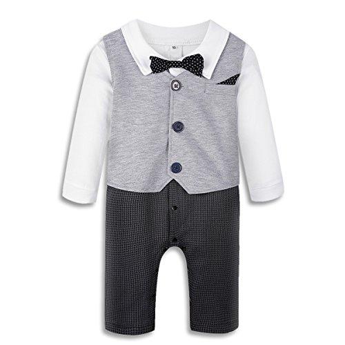 Baby Boy's Jumpsuit Romper 3Pcs Newborn Gentleman Formal Tuxedo Suit Outfit Set Grey 70(0-6 Month)