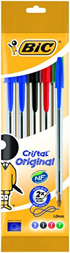 Bic Cristal Original Punta Media 1 mm Confezione 5 Penne Colori Assortiti