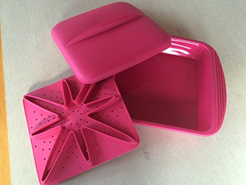 Silicone Steamer with Lid and Stage Extra Large Red By Mastrad