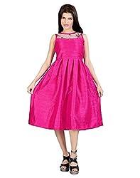 FashionVerb Plain solid Magenta Bhagalpuri Silk Party wear Round Neck Sleeveless Medium length One piece A-line Frock style western dress for women