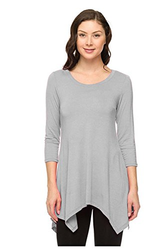 G2 Chic Women's Relaxed Silence Graphic Tee Lightweight Sweater Top(TOP-GTE,GRY-S)
