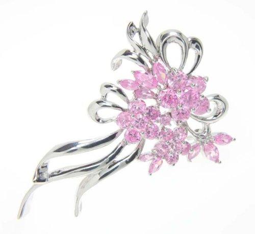 Pink Crystal Floral Brooch / Pin