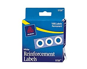Avery Hole Reinforcements, 1/4  Diameter, White, 1000/Pack, PK - AVE05720