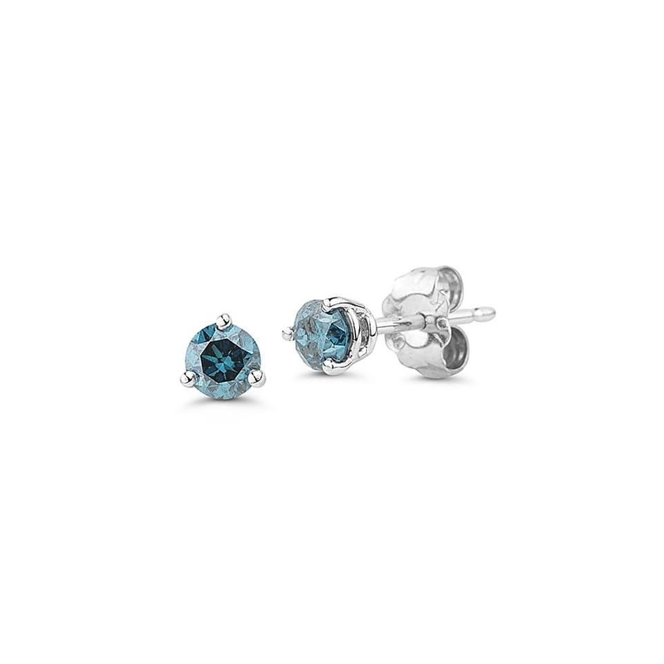 10k White Gold Martini Set Blue Diamond Stud Earrings (1/4 cttw)