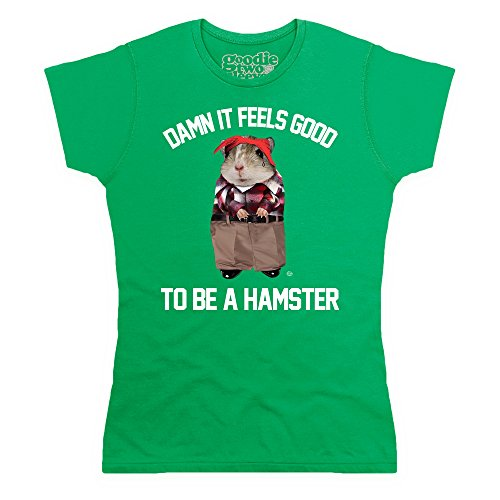 Goodie Two Sleeves Hamster T-shirt, Donna, Verde smeraldo, 2XL