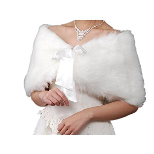 EQLEF-White-Faux-Fur-Wrap-Shawl-Shrug-Bolero-Cape-Lady-Gift-with-Satin-Bowknot-Bridal-Ivory-Faux-Fur-Jacket-coat-shawls-stole