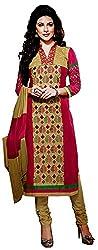 Yati Women's Cotton Semi Stiched Salwar Suit Dupatta Dress Material (Red & Beige, Free Size)