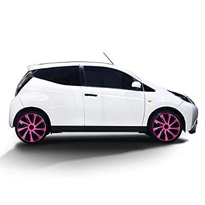 Radkappen DRACO Schwarz-Pink (Farbe und Größe wählbar!)