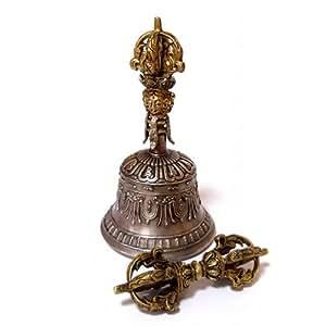7メタル 金剛鈴 & 金剛杵 チベッタンベル & ヴァジュラ Tibetan Bell & Vajra / Lサイズ