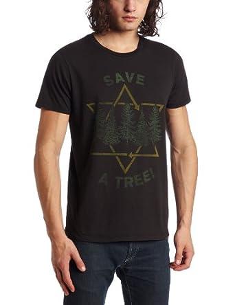 Junk Food Men's Save a Tree Tee, Black Wash, Large