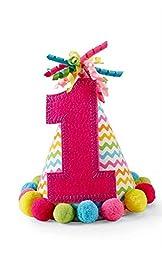 Mud Pie Baby-Girls Newborn I Am One Party Hat, Pink, One Size