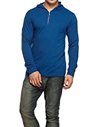 Gritstones Mens Hooded Cotton T-Shirt (GSFSZPHDD60050IND_Blue_X-Large)