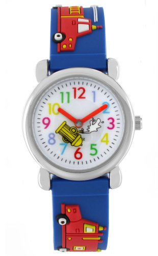 Pacific Time Kinder-Armbanduhr Auto Feuerwehr Analog Quarz blau 20018