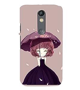 Printvisa Animated Girl Holding Umbrella Back Case Cover for Motorola Moto X Play