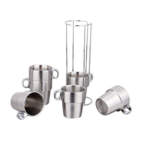 Saebye Acier Inoxydable Tasses Isothermes Tasses à café, Couche Double Isolation Thermique (set of 6)