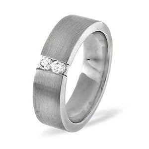 Rings for Eternity: Palladium Diamond Wedding Ring 0.12ct G/VS -6mm Heavy Weight Flat Court - Size Q