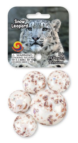 Snow Leopard Game Net Set 25 Piece Glass Mega Marbles - 1