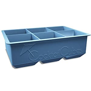 Cocktail Cubes Large Silicone King Cube Ice Cube Trays, Makes Big Cubes for Whiskey, Dusk Blue
