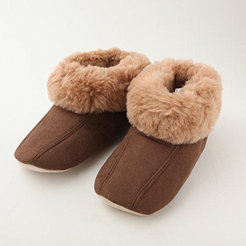 足元から足首までぽかぽか 洗える オーストラリア産羊毛 ルームシューズ スリッパ 丈調整可 男性用 ブラウン かかと付 Lサイズ 約25~26.5cm 滑り止め付き