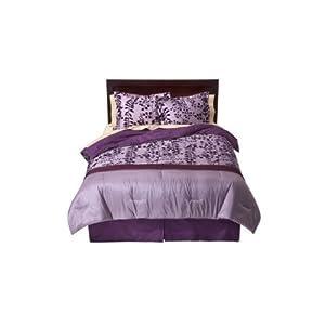 100% Cotton Flocked Comforter Set, Full/Queen size - Purple