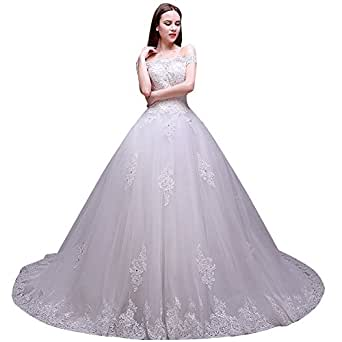 Sunlong Plus Size Wedding Dresses For Bride Charming White