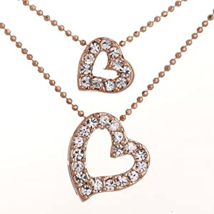 Pugster Golden Double Chains Crystal Artistic Heart Pendant
