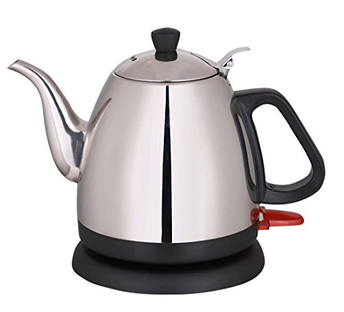 Wollin Electric Kettle 1 L | Durable & Rust Proof Stainless Steel Design | Ergonomic Handle With Curved Gooseneck For Spill Free Pouring | Fast & Cordless Teapot For Coffee, Boiling Water, Tea & More (Smallest Electric Tea Kettle compare prices)