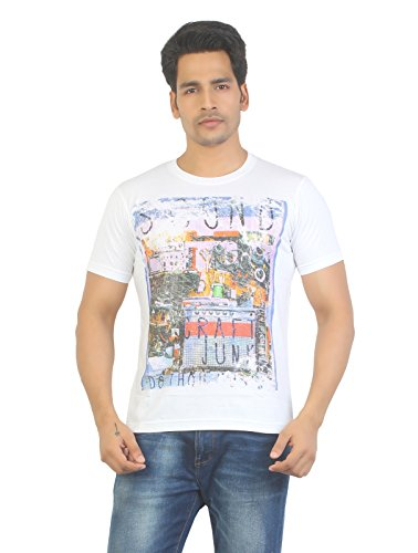 Aliep Aliep Stylish White Printed Half Sleeves T-Shirt For Men | ALP1622 (Multicolor)