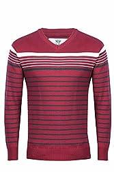 UV&W Full Sleeve V-Neck Men's Brick Red Sweater