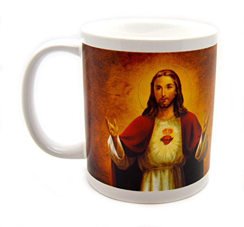 Sacred Heart Morning Offering Prayer Ceramic Mug Religious Picture Design Around the Coffee Cup