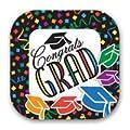 Graduation Day Disposable Dinnerware Party Supplies Kit Bundle - Congrats Grad - Dinner Plates, Dessert Plates, Napkins, Table Cover & Photo Frame (Serves 16)