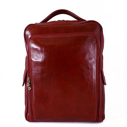 Zaino In Pelle Vera Per Uomo Con Tasca Frontale Colore Rosso - Pelletteria Toscana Made In Italy - Zaino