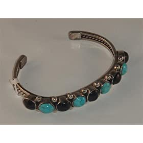Turquoise and Black Onyx Sterling Silver Cuff Bracelet - BR-0011