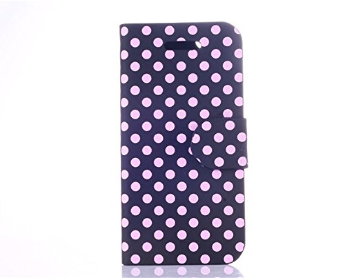 Luv You Iphone 4 4S 4G Case,Pink Dots Black Style Lv-Yo Design Style Beautiful High Quality Luxury Premium Pu Leather Feature Flip Magnet Wallet Stand Smart Case Cover Protective Fit For Apple Iphone Verizon/At&T/Sprint/T-Mobile/International/Unlocked 201 front-495168
