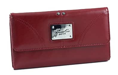 Genuine Leather Kenneth Cole New York Womens Credit Card Clutch Wallet In Two Colors (Red)