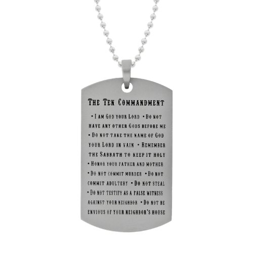 Men's Stainless Steel Dog Tag with 10 Commandments, 22
