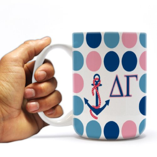 Delta Gamma 15Oz Coffee Mug Polka Dot Design