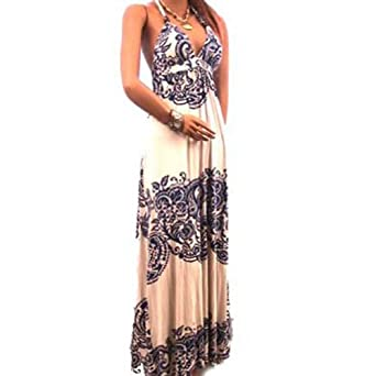 New Sexy Bra Dress Halter Casual Lined Long Maxi Stretch Blue Pattern Size Small, Medium, Large (Medium, Blue)
