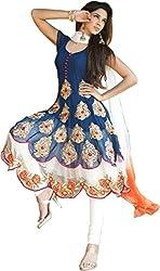 Aarsh Apparel women's Blue Georgette Anarkali Dress Material