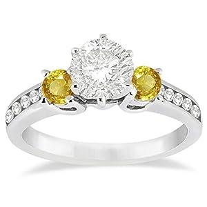 Women's 3 Stone Yellow Sapphire and Diamond Engagement Ring 14k W. Gold (0.45ct)